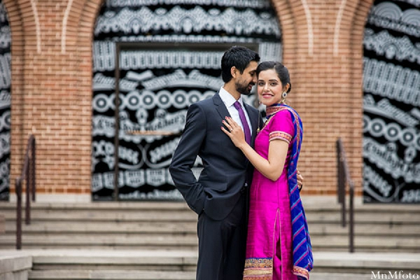 indian wedding portrait outside bride and groom tuxedo