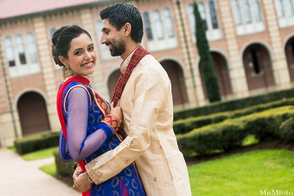 Indian wedding portrait outside bride and groom in Sweethearts Sunday Winnner ~ Navneet & Koijan by MnMfoto