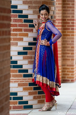 Indian wedding solo portrait blue lenga in Sweethearts Sunday Winnner ~ Navneet & Koijan by MnMfoto