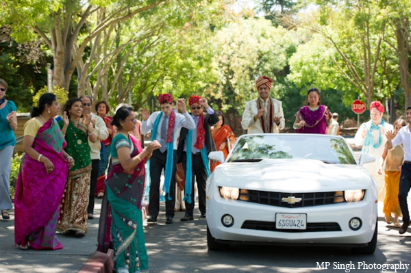Indian-wedding-baraat-white-convertible-car-celebration
