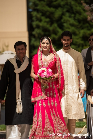 Indian-wedding-white-walking-down-aisle-lengha