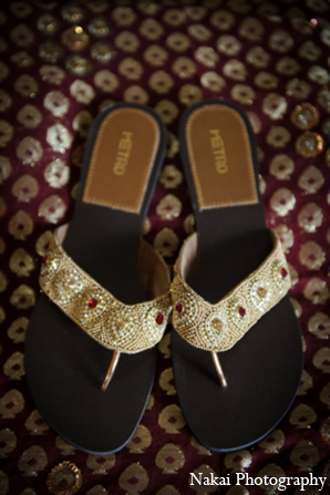Indian wedding bridal sandals in Itasca, Illinois Indian Wedding by Nakai Photography