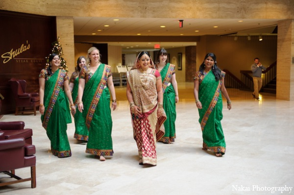 Indian wedding bridesmaids in Itasca, Illinois Indian Wedding by Nakai Photography