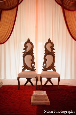 Indian wedding mandap chairs in Itasca, Illinois Indian Wedding by Nakai Photography