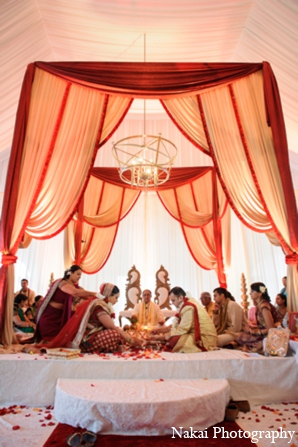 Indian wedding mandap in Itasca, Illinois Indian Wedding by Nakai Photography