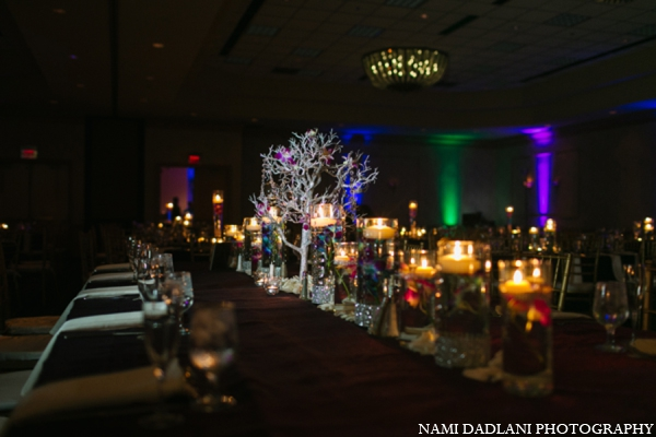 Indian wedding reception decor lighting in Coral Springs, Florida Indian Wedding by Nami Dadlani Photography