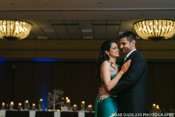 Indian wedding reception portrait in Coral Springs, Florida Indian Wedding by Nami Dadlani Photography