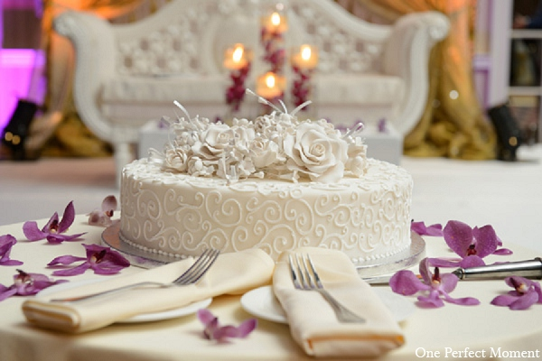 Indian wedding reception cake decor in Wilmington, Delaware Indian Wedding by One Perfect Moment