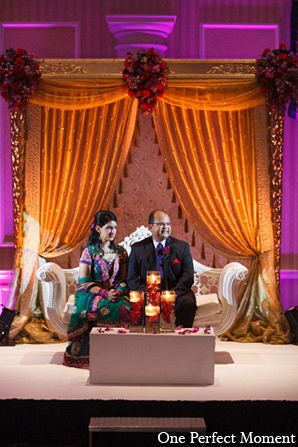 Indian wedding reception decor bride groom in Wilmington, Delaware Indian Wedding by One Perfect Moment