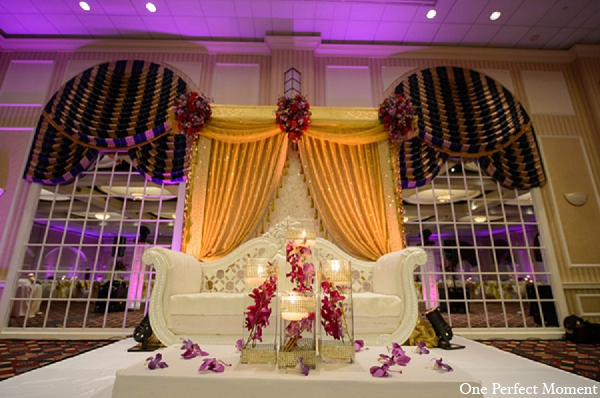 Indian wedding reception decor lighting in Wilmington, Delaware Indian Wedding by One Perfect Moment