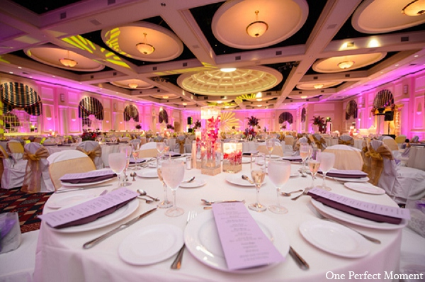 Indian wedding reception decor table setting in Wilmington, Delaware Indian Wedding by One Perfect Moment