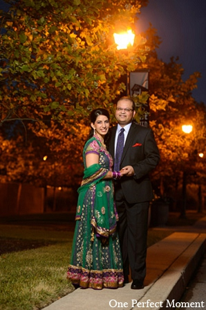 Indian wedding reception portrait bride groom outdoor in Wilmington, Delaware Indian Wedding by One Perfect Moment