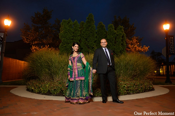 Indian wedding reception portraits bride groom in Wilmington, Delaware Indian Wedding by One Perfect Moment