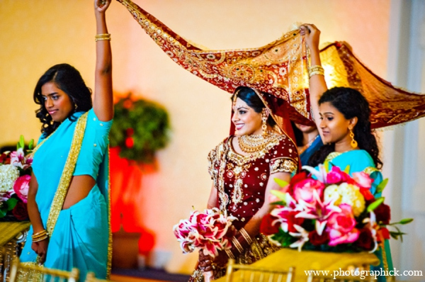 Indian wedding ceremony bride in Chantilly, VA Indian Wedding by Photographick Studios