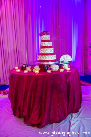 Indian wedding reception cake in Chantilly, VA Indian Wedding by Photographick Studios