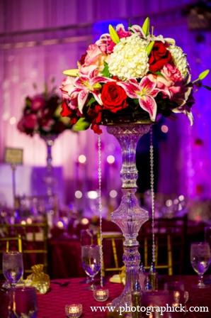 Indian wedding reception centerpieces in Chantilly, VA Indian Wedding by Photographick Studios