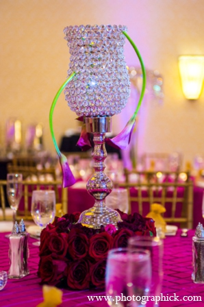 Indian wedding reception modern floral in Chantilly, VA Indian Wedding by Photographick Studios