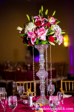 Wedding reception centerpieces in Chantilly, VA Indian Wedding by Photographick Studios