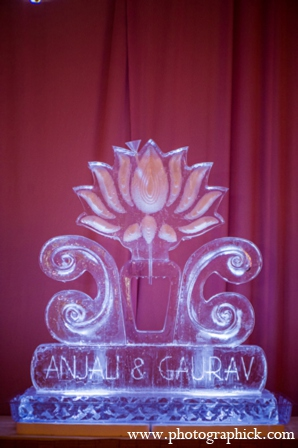 Wedding reception ice sculpture in Chantilly, VA Indian Wedding by Photographick Studios