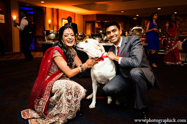 Indian wedding bride groom portraits dog in Washington, DC Indian Wedding by Photographick Studios