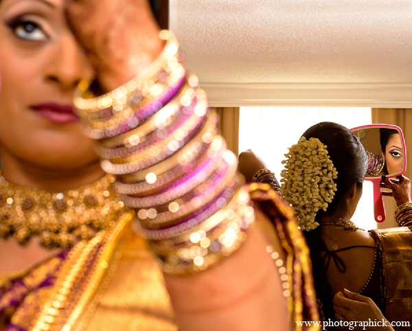 Indian wedding bride makeup hair jewelry photography in Washington, DC Indian Wedding by Photographick Studios
