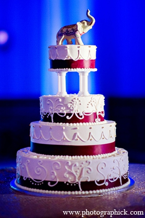 Indian wedding cake reception elephant in Washington, DC Indian Wedding by Photographick Studios