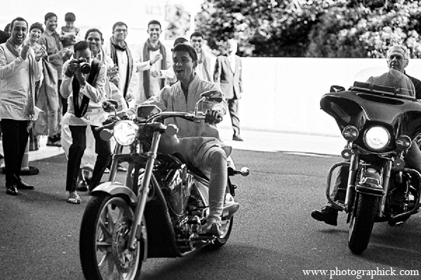 Indian wedding groom baraat motorcycle transportation in Washington, DC Indian Wedding by Photographick Studios