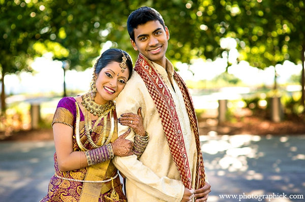 Indian wedding groom bride first look portraits in Washington, DC Indian Wedding by Photographick Studios