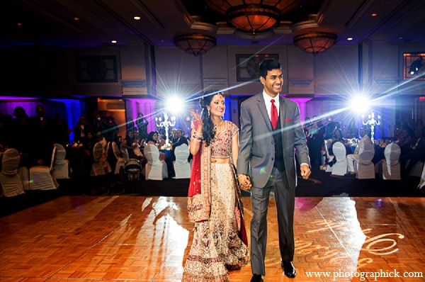 Indian wedding reception bride groom entrance in Washington, DC Indian Wedding by Photographick Studios