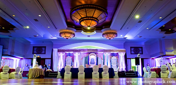 Indian wedding reception decor lighting in Washington, DC Indian Wedding by Photographick Studios