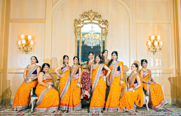 Indian-wedding-portrait-bride-bridal-party-lenghas