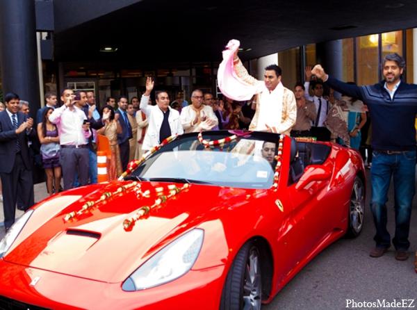 Indian wedding baraat car groom