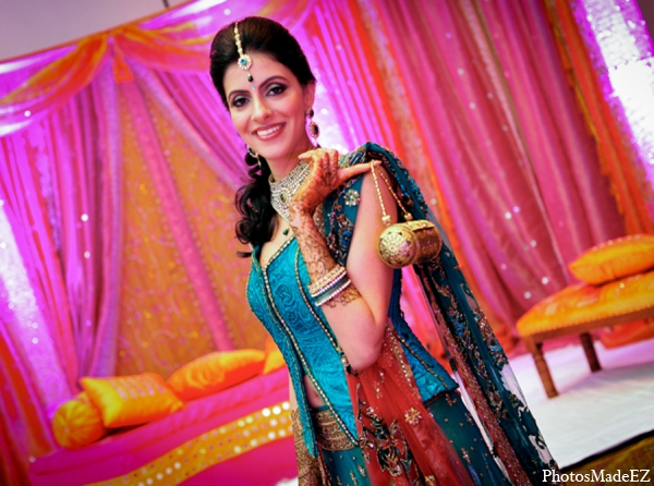 Indian wedding bridal fashion blue pink