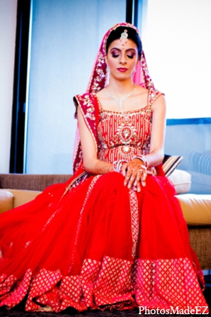 indian wedding bridal lengha red gold