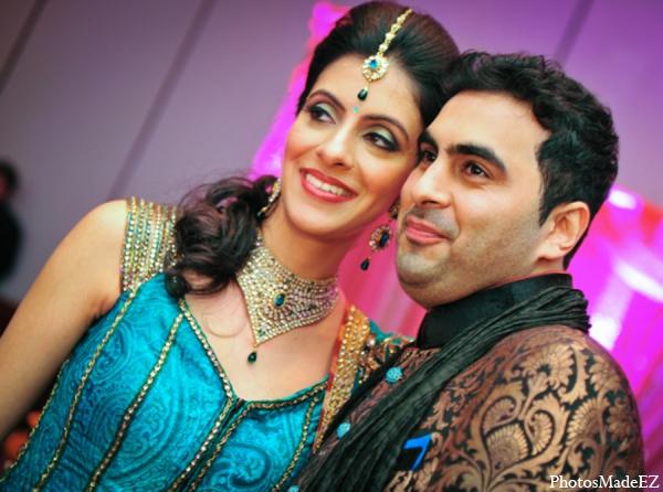 Indian wedding bride groom black blue