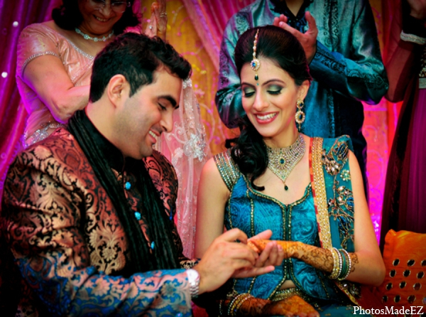 Indian wedding bride groom fashion blue gold