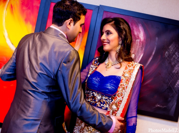 Indian wedding bride groom reception fashion