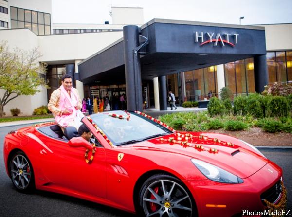 Indian wedding groom baraat car