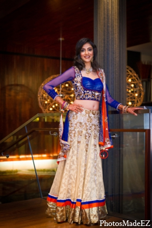 Indian wedding reception choli blue gold orange