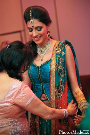 Indian wedding sangeet bride fashion blue green