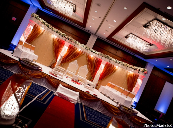 Indian wedding venue mandap red white