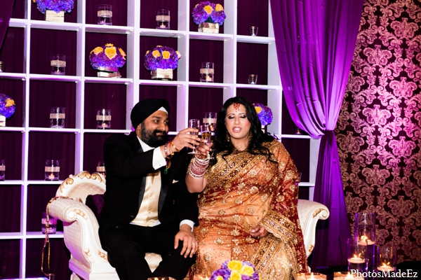 Indian wedding reception decor lighting floral in Philadelphia, Pennsylvania Sikh Wedding by PhotosMadeEz