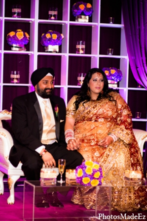 Indian wedding reception decor lighting in Philadelphia, Pennsylvania Sikh Wedding by PhotosMadeEz