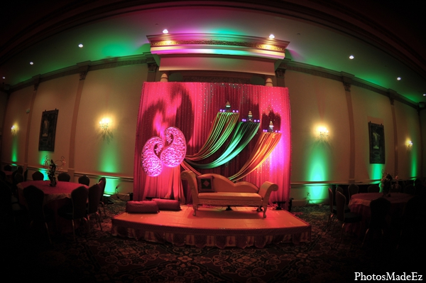 Indian wedding reception lighting decor design in Philadelphia, Pennsylvania Sikh Wedding by PhotosMadeEz