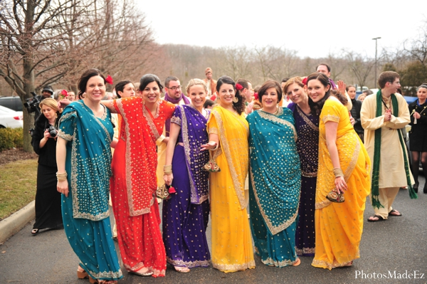 Indian wedding baraat celebration bridesmaids colorful in Eatontown, New Jersey Indian Wedding by PhotosMadeEz