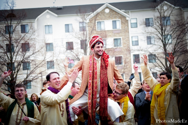 Indian wedding baraat celebration white horse in Eatontown, New Jersey Indian Wedding by PhotosMadeEz