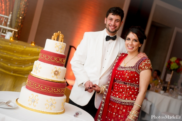 Indian wedding reception bride groom cake in Eatontown, New Jersey Indian Wedding by PhotosMadeEz