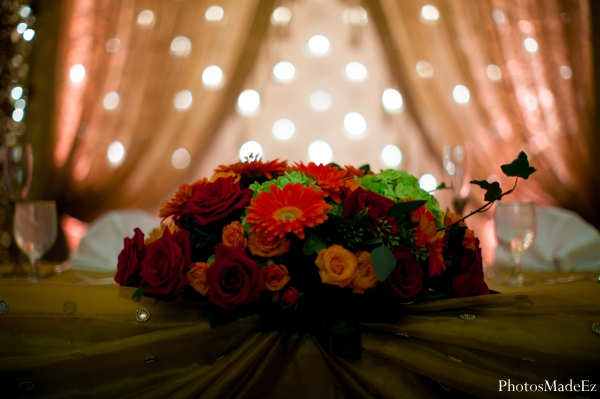 Indian wedding reception floral lighting decor in Eatontown, New Jersey Indian Wedding by PhotosMadeEz