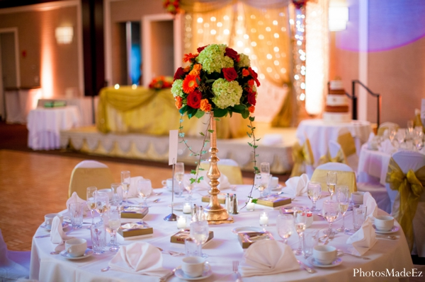 Indian wedding reception table decor floral in Eatontown, New Jersey Indian Wedding by PhotosMadeEz