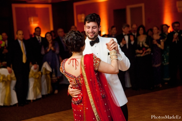 Indian wedding reception bride groom dancing in Eatontown, New Jersey Indian Wedding by PhotosMadeEz
